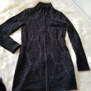 Cythia Rowley Black zip front Thick Cardigan S C10